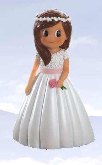 Figura niña Primera Comunión fajín y flor en rosa [60-1651] - 1.35€ : Cosas43, detalles y regalos para los invitados, boda, comunión y bautizo, regalos infantiles