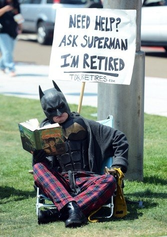Can we find a reason for Griffin to invade comic con... please^Jitin    Comic-Con Costumes: Retirement Batman, Comic Con Cosplay, Reading Harry, Comiccon 2012, Epic Halloween Costumes, Harry Potter, Dark Knights, Awesome Things, Comic Con 2012