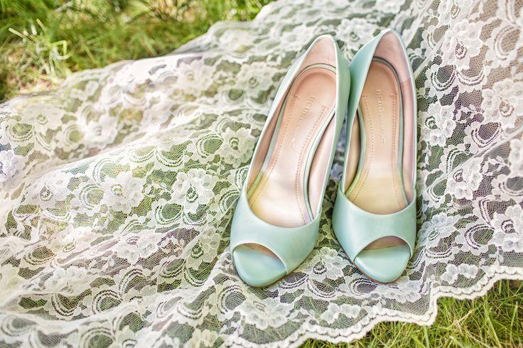 Mint green wedding shoes
