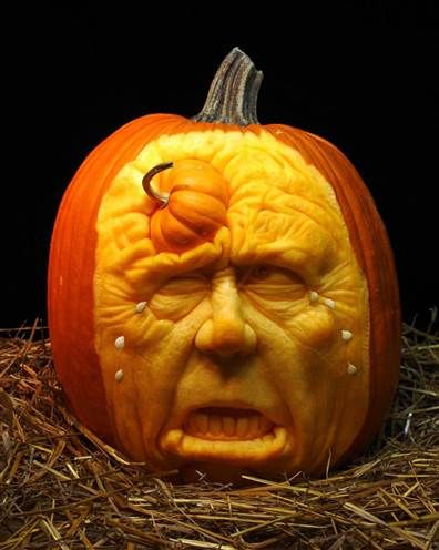 """Amazing """"crying face"""" pumpkin carving by Ray Villafane"""