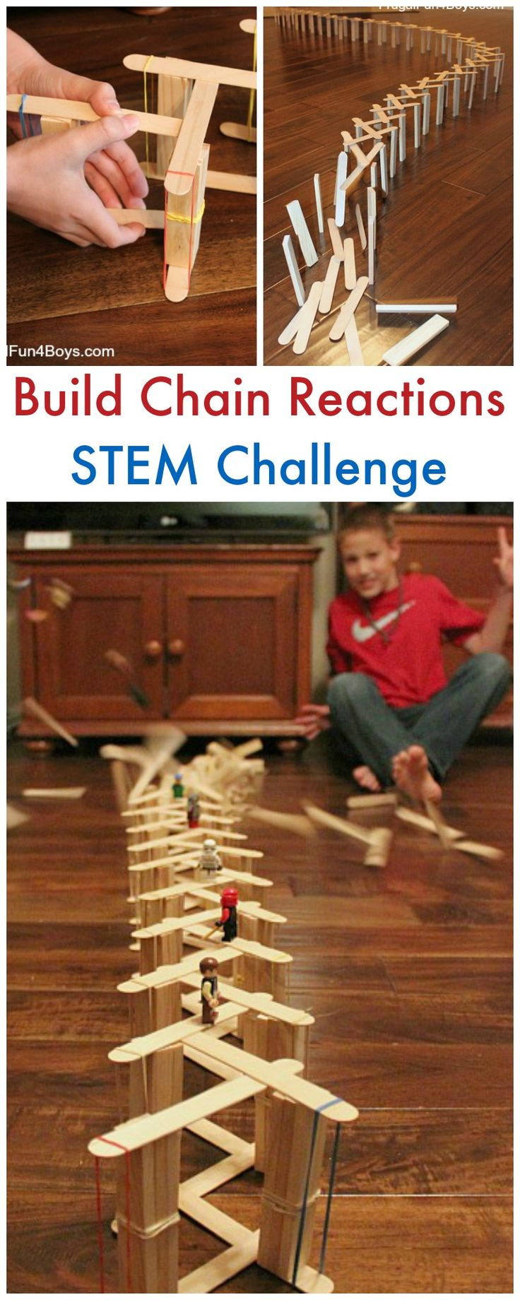 Simple Popsicle Stick Chain Reactions - Fun STEM challenge. Move over dominoes! Here are two fun and simple ways to make chain reactions with craft sticks.