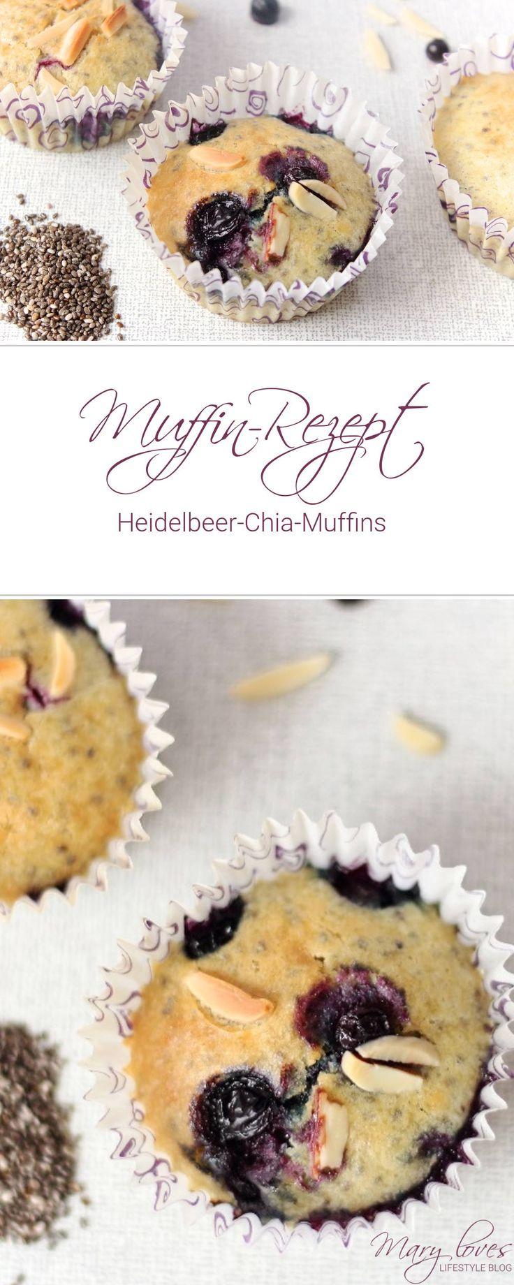 [Muffin-Rezept] Heidelbeer-Chia-Muffins - Muffins mit Chia Samen und Heidelbeeren - Superfood Muffins