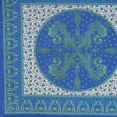 CLEARANCE Floral Tapestry Handmade Cotton Peacock Tablecloth Coverlet Blue 85X90