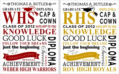 Easily customize this 11 x 14 poster with your graduate's name, school and colors. To start one of your own, click image.