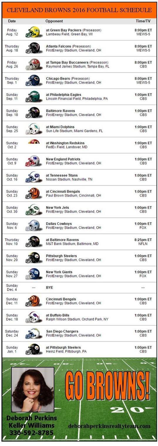 Cleveland Browns 2016 -2017 Football Schedule