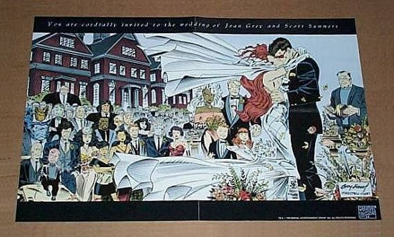 jewelry clothes 1993 X Men Wedding 17 x 11 promotional poster  Marvel Girl marriage to Cyclops Never for sale to the public comic shop promo pin up 1990  39 s