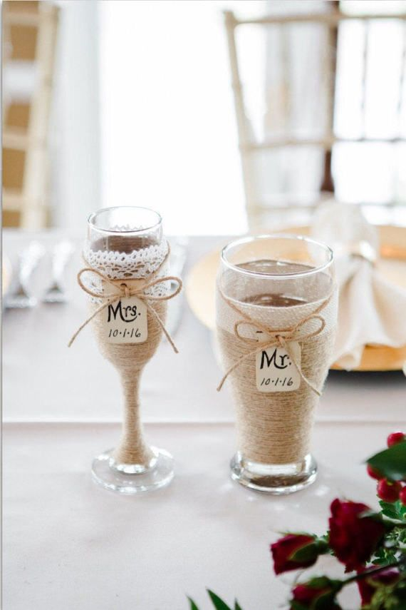 Wedding Champagne Glass and Beer Glass / by CarolesWeddingWhimsy, This Rustic Wedding Champagne Glass and Beer Glass are the perfect personalized wedding toasting glasses.  They have a mason jar tag to personalize. You can find them here https://www.etsy.com/listing/238625748/wedding-champagne-glass-and-beer-glass