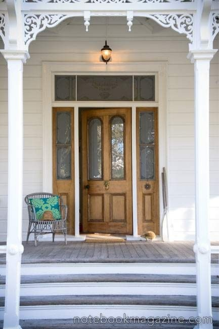 white front timber door
