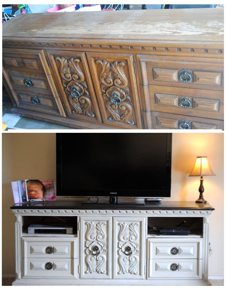 dove wood dresser garage sale find turned tv stand diy before and after