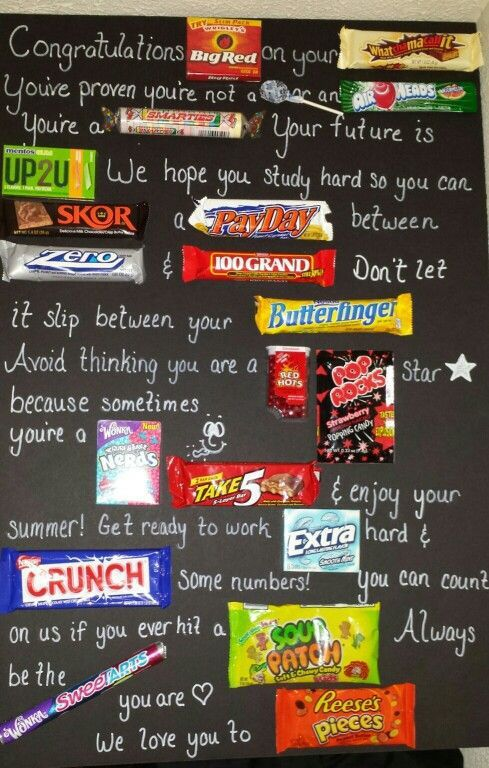 10 awesome graduation gift ideas! Use candy to write a congratulations card for your graduate