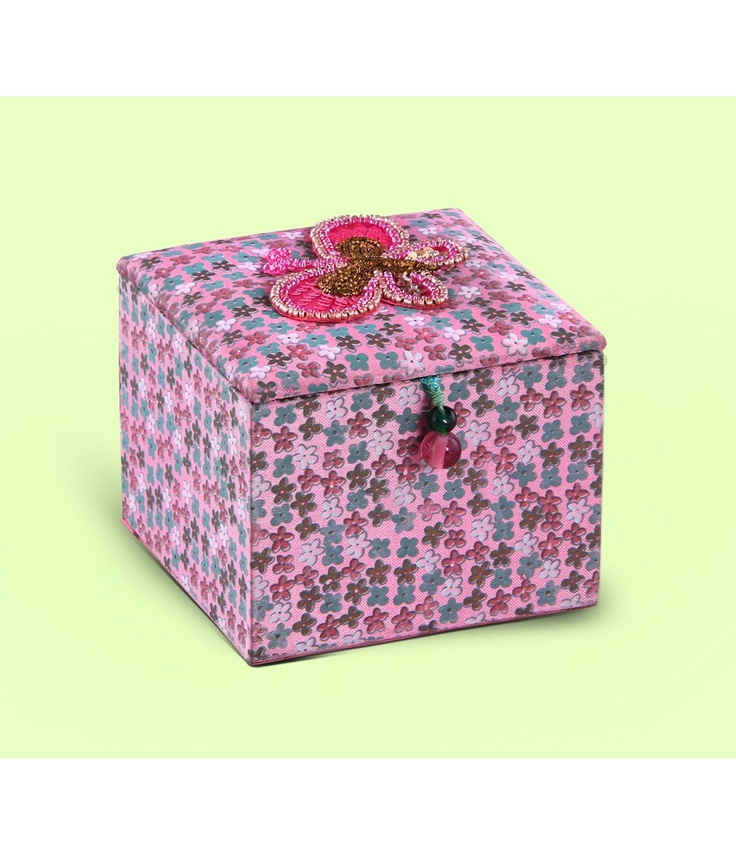 Art Papyrus- Hand Embroidered & Printed Fabric Trinket Box - Bling Organizer