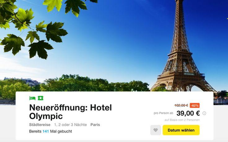 Liebe UHUs, es gibt Neues aus der Stadt der Liebe. Mit diesem Deal geht's zur Hotelneueröffnung in Paris. Inklusive Frühstück und 1 Ticket pro Person für eine Sehenswürdigkeiten Kreuzfahrt über die Seine zahlt ihr gerade einmal 39€.  Paris gehört auf jede Reiseliste, denn diese Stadt... #kurztrip