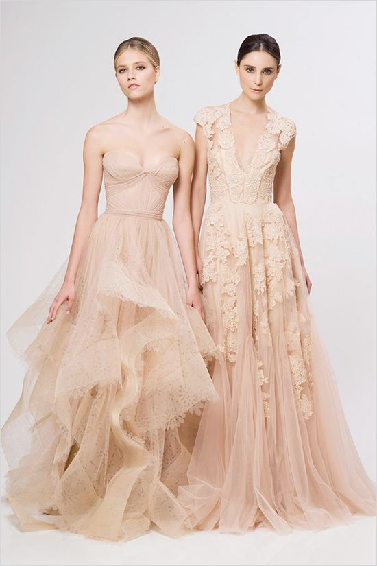 non traditional reem acra peach wedding dress the right one