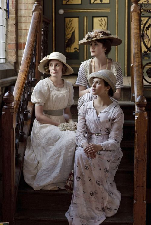 Laura Carmichael, Michelle Dockery and Jessica Brown Findlay as the Crawley Sisters in Downton Abbey (2010).