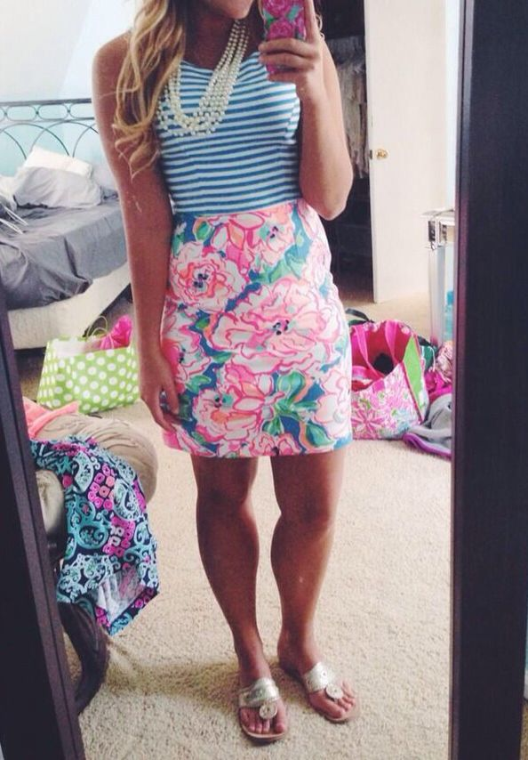 blue and white striped tank top, white layered pearl necklace and Lilly Pulitzer pink floral skirt