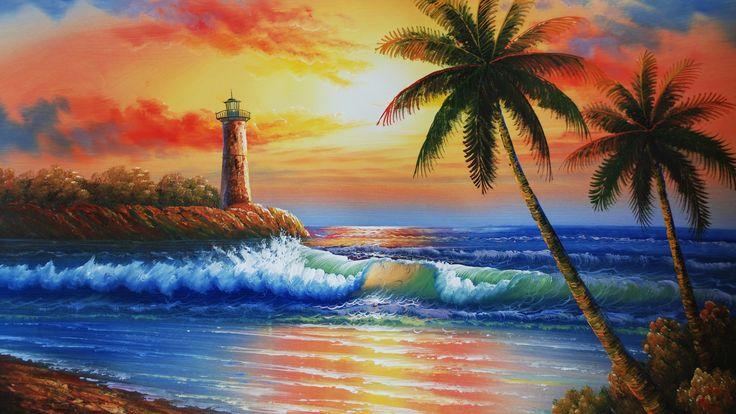 картина, пляж, маяк, море, волна, берег, природа, пальма, небо, красиво