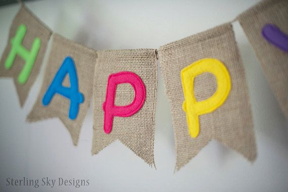 Happy Birthday Burlap Banner!  How FUN is this birthday bunting? The perfect bright colors to bring cheer to any party!   Banner details: - each burlap pennants approx 5 x 6 - banner comes in two sections for hanging - the happy section is approx 25 long with plenty of additional twine on each end for hanging - the birthday section is approx 40 long with plenty of additional twine on each end for hanging - letters are hand cut felt and sewn - each pennant has been sewn around the edges to…