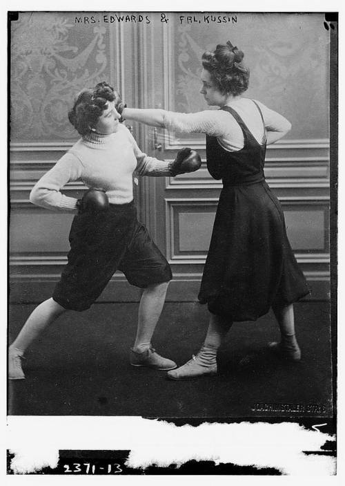 Fraulein Kussin and Mrs Edwards, who had a boxing match on March 7, 1912