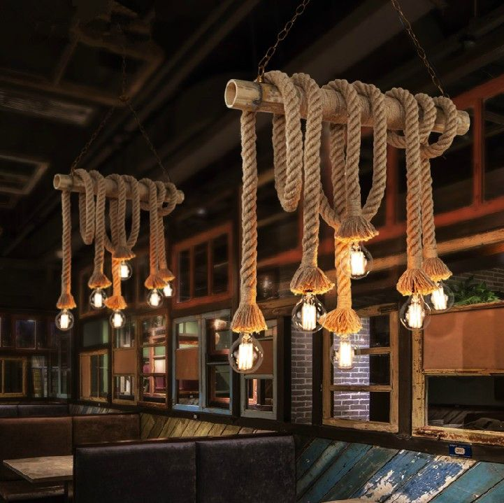 Single bulb / 2 bulbs Creative personality Rope pendant lights vintage restaurant lamp dining room pendant lamps hemp rope light-in Pendant Lights from Lights & Lighting on Aliexpress.com | Alibaba Group