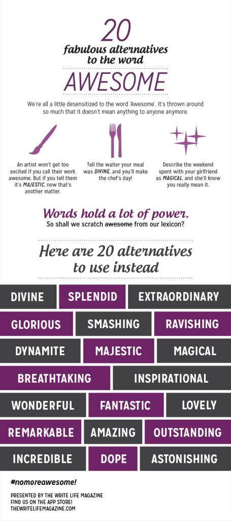 20 Words to Use Instead of Awesome Infographic #writing #grammar #writingtips