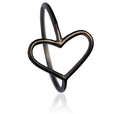 Miss Love - Hjertering - sort sølv