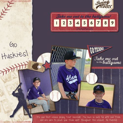 Swing Away - Baseball Additions Digital Scrapbooking / Photo Book Layout from the Creative Memories Project Center, Detailed Instructions: http://projectcenter.creativememories.com/photos/digital_family_and_friend/swing-away-baseball-additions-digital-scrapbooking-layout.html