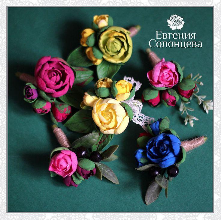 Купить Бутоньерка, брошь - бутоньерка, брошь, брошь с цветком, розовая бутоньерка, розовая брошь с цветком