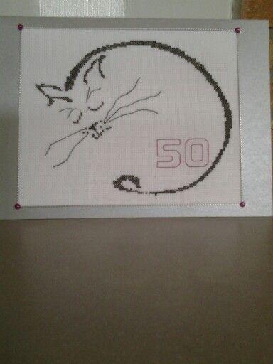 Kaartje voor 50 jarige kattenliefhebster 6-7-2014