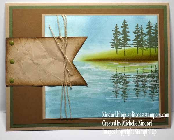handmade greeting card: Waterfront Reflected Pines .... lakeside scene created by Michelle Zindorf ...  Stampin' Up! Card