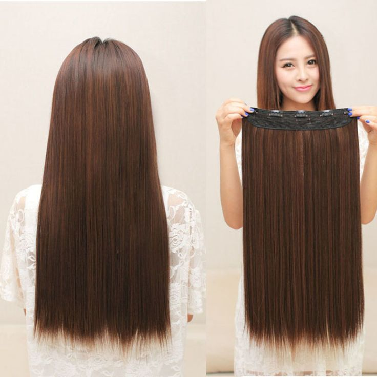 Long Straight Womens Lady One Piece 5 Clips in Hair Wig Wigs Party Aug6