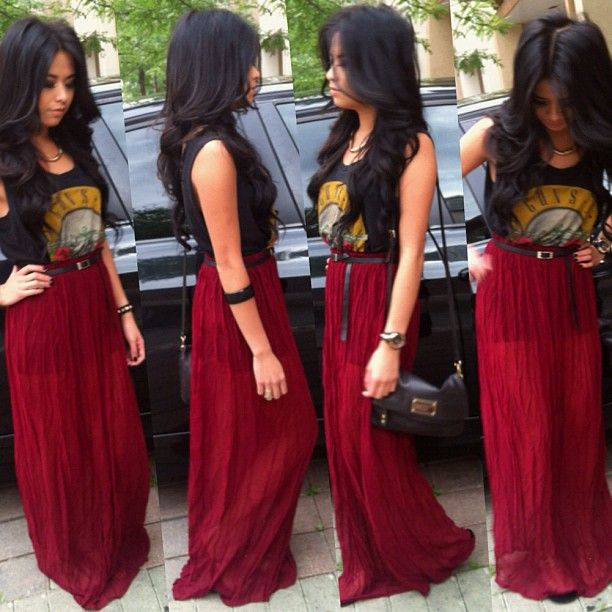 Cute maxi skirt outfit love it with the 80s band shirt for Cute shirts for maxi skirts