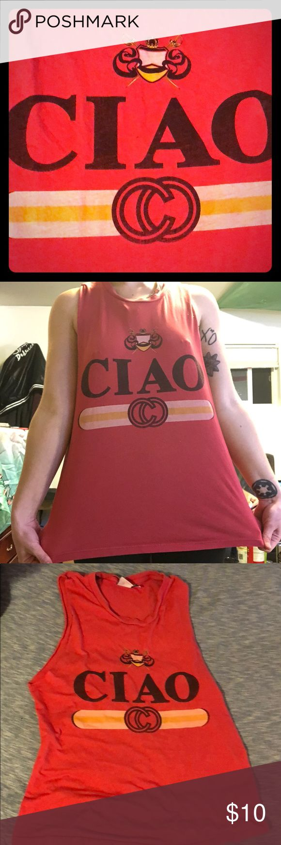 I just added this listing on Poshmark: Rebel Yell S red Ciao muscle tee tank top. #shopmycloset #poshmark #fashion #shopping #style #forsale #rebel yell #Tops