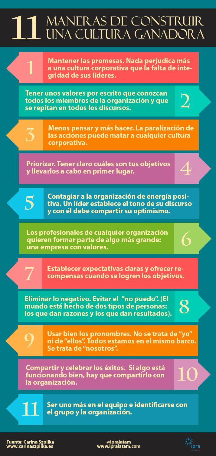 11 maneras de crear una cultura de empresa ganadora #infografia #infographic #rrhh