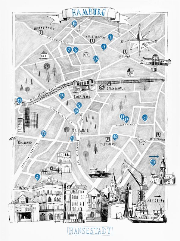 Beautiful hand-drawn city map of Hamburg, Germany illustrated by Andre Gottschalk for CUT Magazine