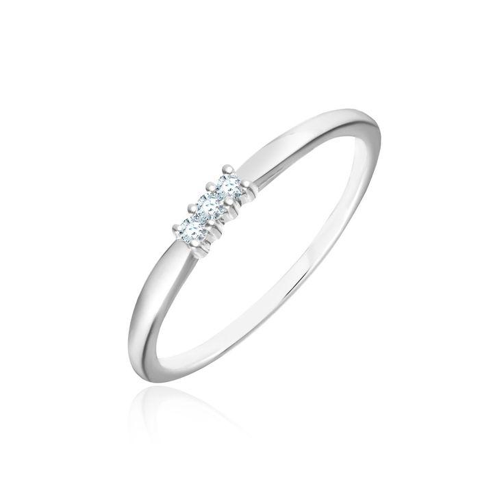 Bague Or Blanc 375‰ et Diamant