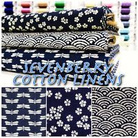 Sevenberry Oriental Style Cotton Linen Japanese Indigo Dress Fabric Material