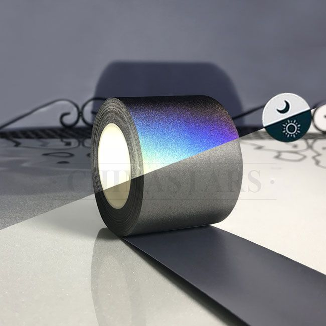 The Rainbow Reflective Heat Transfer Vinyl Appears Black In Daylight But At Night When Illuminated By Li Heat Transfer Heat Transfer Vinyl Reflective Material
