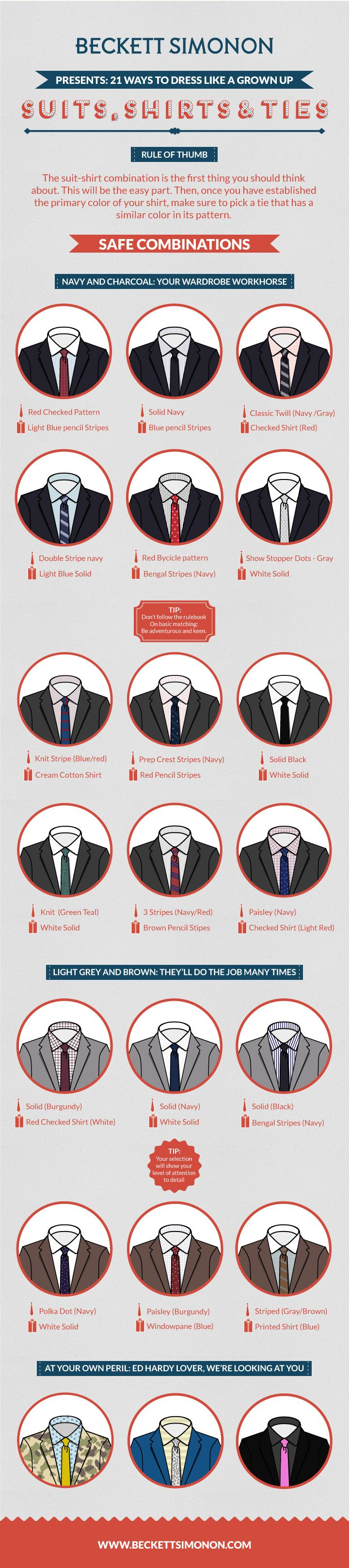 How to match suits, shirts and ties like a pro.