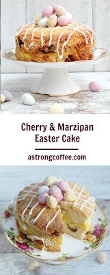 Cherry and Marzipan Easter Cake. Sponge mixed with marzipan and glace cherries and topped with mini eggs. A fantastic Easter bake.