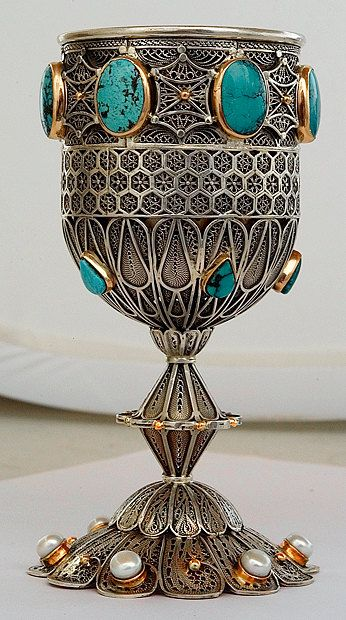 Kiddush cup / goblet - sterling silver and solid gold 4400