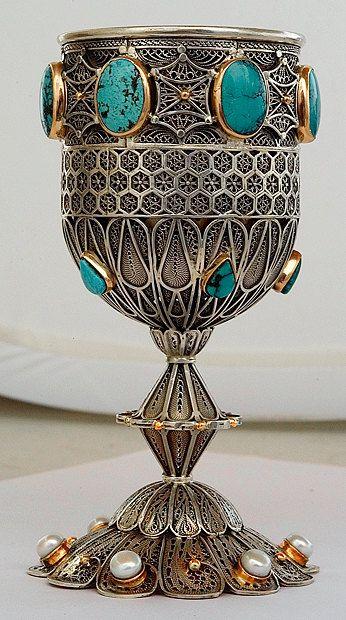Kiddush cup / goblet  sterling silver and solid par AshreyJudaica