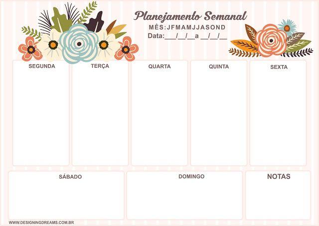 Planner Semanal Grátis para baixar e imprimir - Cantinho do blog