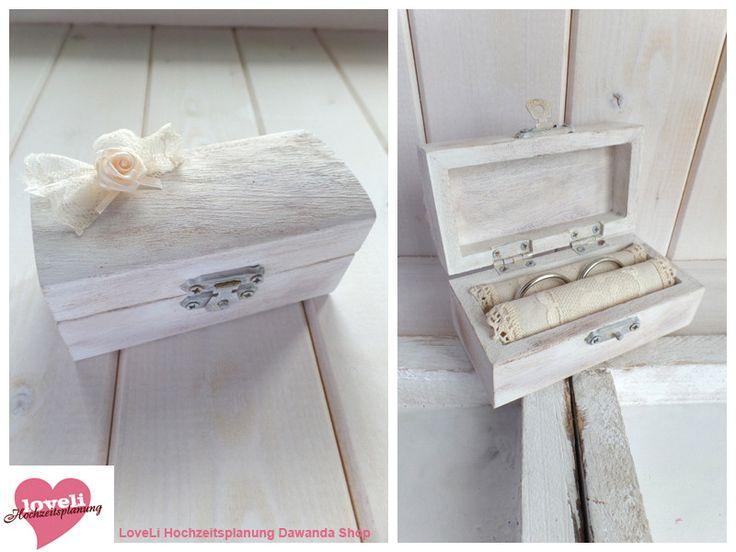 Ringkissen - Ringschatulle Hochzeit weiß-beige Rose - ein Designerstück von Loveli-Hochzeitsplanung bei DaWanda
