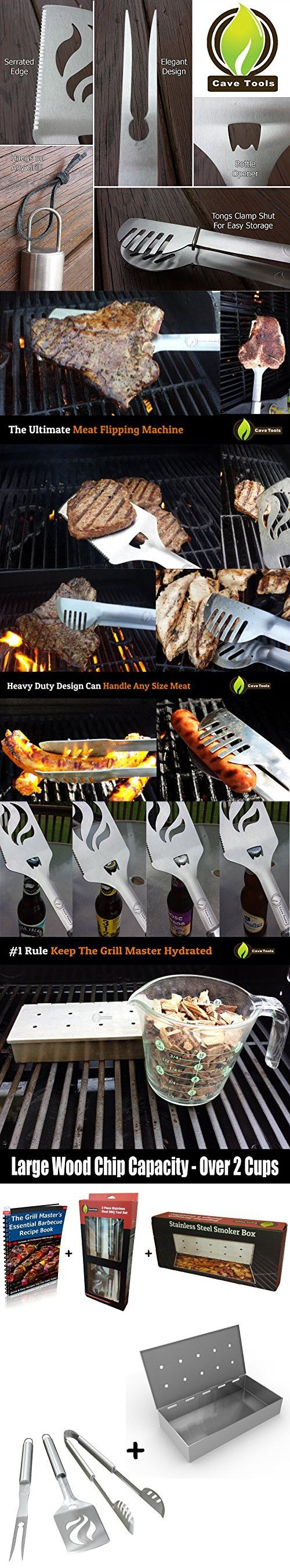 Smoker Box + BBQ Grill Tools Set - HEAVY DUTY 20% THICKER STAINLESS STEEL - Professional Barbecue Accessories - 3 Piece Utensils Kit Includes Spatula Tongs & Fork - Unique Birthday Gift Idea For Dad