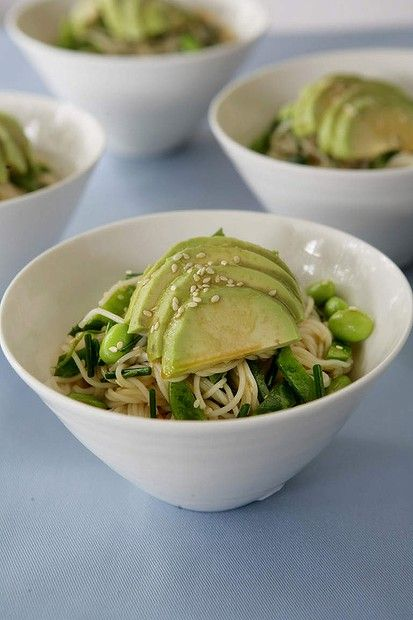 How to cook with Asian condiments - Mirin. Jane and Jeremy Strode's Japanese soba noodles with avocado and sesame salad. Photo: Marco Del Grande