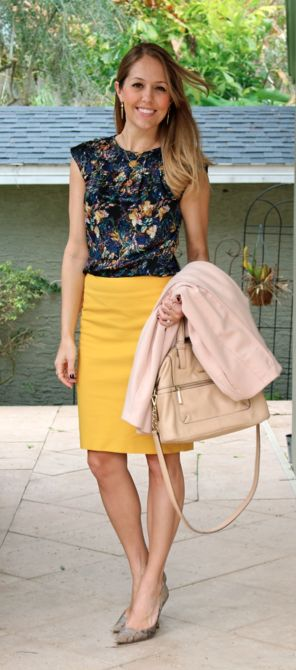 Floral top + yellow pencil skirt + python shoes & neutral accessories