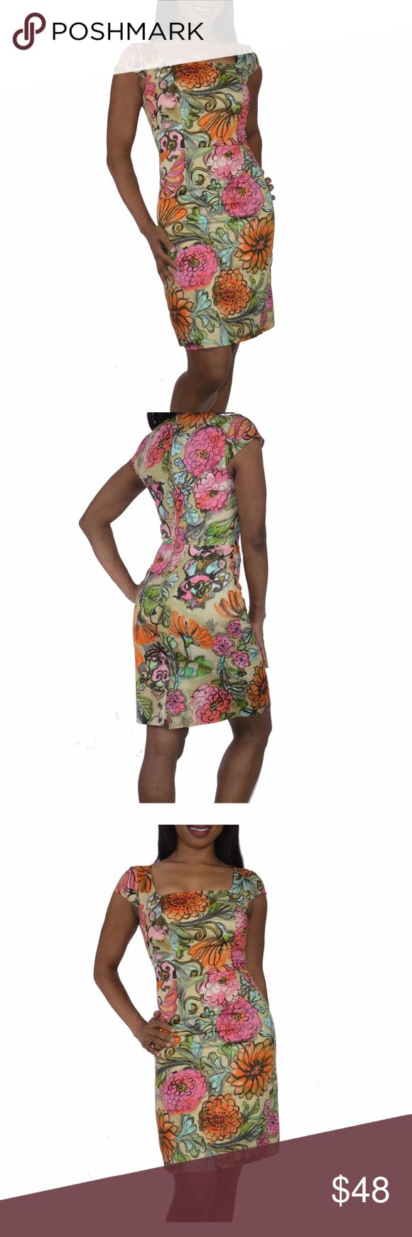 Authentic Milly floral sheath dress bright floral Size 0 -Milly - EUC-Excellent Pre-owned Condition- no tears snags etc. I'm (pictured) 5'2 and normally wear a size 4 & this fit me though it is definitely very snug so it should be perfection on a size 2 or zero. This stylish cap sleeve dress features a flattering bright floral pattern.. It can easily work for day or night and shows just a bit of cleavage. There is a 3 inch vent at the back bottom so its easy to walk in and you should let…