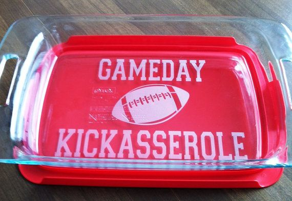 GameDay Kickasserole Pyrex 3 quart by CrystalCreekBoutique on Etsy