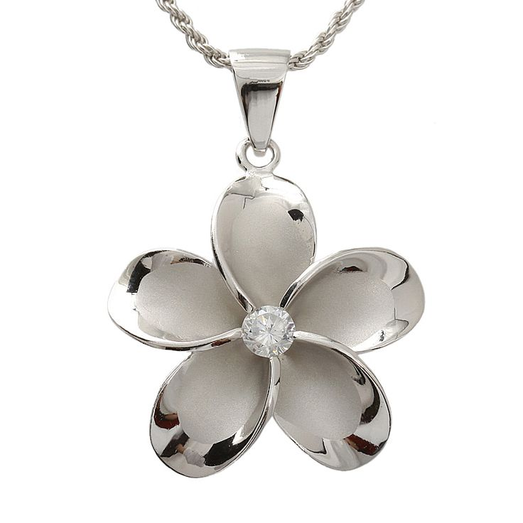 Hawaiian Jewelry 30mm Plumeria /cz Rhodium Pendant - Makani Hawaii,Hawaiian Heirloom Jewelry Wholesaler and Manufacturer