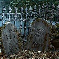 this looks really easy and cheap! I looks like all you do is buy some scary halloween fence and put it around where your decorating then you gather up leaves and put fake tombstones!